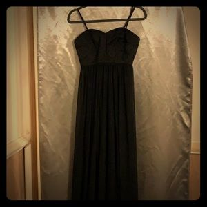 MaxandCleo maxi formal dress- size 4 black chiffon